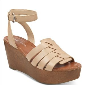 Marc Fisher Pastya Woven Leather Wedge Ankle Strap